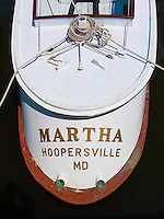Chesapeake Bay Maritime Museum, St. Michaels, Maryland<br /> Stern view of the historic 1934 wood oyster boat &quot;Martha&quot;