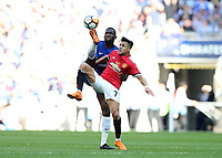 19th May 2018, Wembley Stadium, London, England; FA Cup Final football, Chelsea versus Manchester United; Alexis Sanchez of Manchester United and Antonio Rudiger of Chelsea compete for the ball