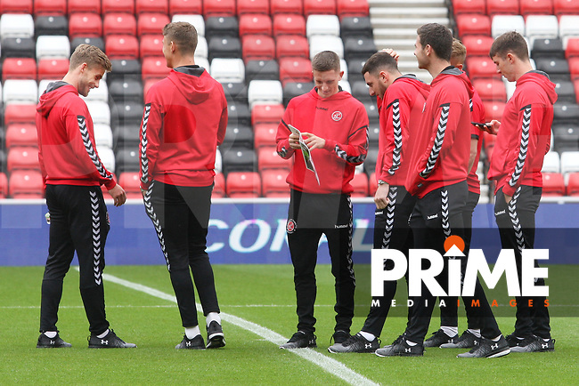 Fleetwood Town players on the pitch before the Sky Bet League 1 match between Sunderland and Fleetwood Town at the Stadium Of Light, Sunderland, England on 8 September 2018. Photo by Stephen Hadlow/MI News & Sport/PRiME Media Images.