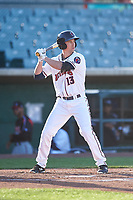 Lancaster JetHawks designated hitter Todd Czinege (13) during a California League game against the Lake Elsinore Storm on April 10, 2019 at The Hangar in Lancaster, California. Lake Elsinore defeated Lancaster 10-0 in the first game of a doubleheader. (Zachary Lucy/Four Seam Images)
