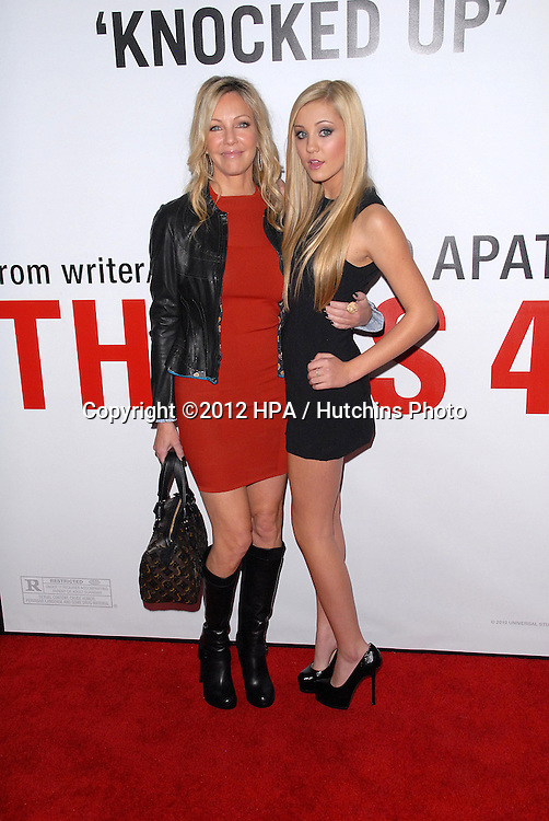 LOS ANGELES - DEC 12:  Heather Locklear, Ava Sambora arrives to the 'This is 40'  Premiere. at Graumans Chinese Theater on December 12, 2012 in Los Angeles, CA