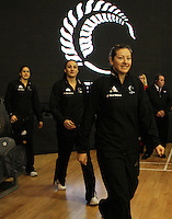 09.06.2011 Silver Ferns and Australian Diamonds in action during the netball match between the Silver Ferns and Australia held at Arena Manuwau in Palmerston North. Mandatory Photo Credit ©Michael Bradley.