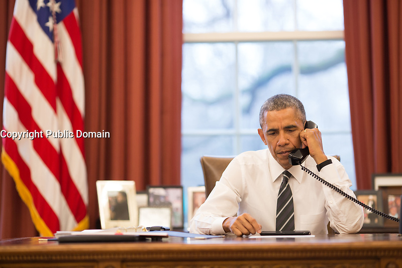 President Barack Obama talks on the phone in the Oval Office with Major General Joe Osterman, Commander of Marine Special Operations Command, about the UH-60 Black Hawk helicopter that apparently crashed in waters off Florida during a routine night training mission, March 10, 2015. (Official White House by Pete Souza)<br /> <br /> This official White House photograph is being made available only for publication by news organizations and/or for personal use printing by the subject(s) of the photograph. The photograph may not be manipulated in any way and may not be used in commercial or political materials, advertisements, emails, products, promotions that in any way suggests approval or endorsement of the President, the First Family, or the White House.