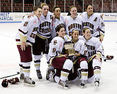 Becky Zavisza (Boston College - 2), Colleen Harris (Boston College - 11), Brie Baskin (Boston College - 4), Stephanie Olchowski (Boston College - 28), Maggie Taverna (Boston College - 10) - Meghan Fardelmann (Boston College - 18), Lauren Wiedmeier (Boston College - 27), Shannon Webster (Boston College - 12) - The Boston College Eagles defeated the Harvard University Crimson 1-0 to win the Beanpot on Tuesday, February 10, 2009, at Matthews Arena in Boston, Massachusetts.