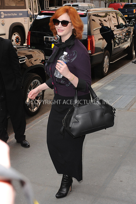 WWW.ACEPIXS.COM . . . . . .April 22, 2013...New York City....Christina Hendricks leaving a taping of the Katie Couric Show on April 22, 2013 in New York City. ....Please byline: KRISTIN CALLAHAN - WWW.ACEPIXS.COM.. . . . . . ..Ace Pictures, Inc: ..tel: (212) 243 8787 or (646) 769 0430..e-mail: info@acepixs.com..web: http://www.acepixs.com .