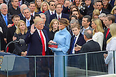 Donald J. Trump is sworn-in as the 45th President of the United States on the West Front of the US Capitol on Friday, January 20, 2017.<br /> Credit: Ron Sachs / CNP<br /> (RESTRICTION: NO New York or New Jersey Newspapers or newspapers within a 75 mile radius of New York City)