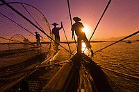 Three legrowing fisherman, Inle Lake, Burma (Myanmar)