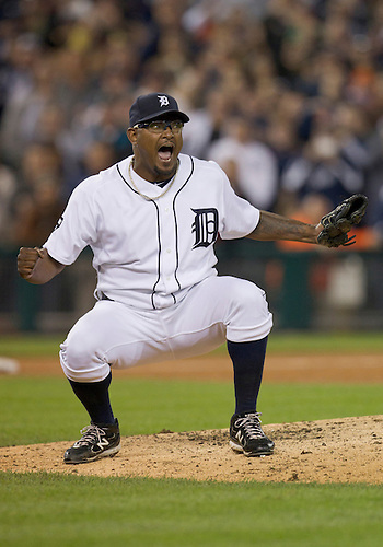 September 28, 2011:  Detroit Tigers relief pitcher Jose Valverde (#46) celebrates the last out  of MLB game action between the Cleveland Indians and the Detroit Tigers at Comerica Park in Detroit, Michigan.  The Tigers defeated the Indians 5-4.