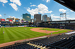 HARTFORD, CT-062520JS02—Fans were scarce during  Connecticut Twilight League baseball game between the Terryville Black Sox and the Great Falls Gators Thursday at Dunkin Donuts Park in Hartford. <br /> Jim Shannon Republican-American