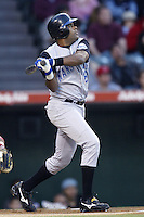 Neifi Perez of the Kansas City Royals bats during a 2002 MLB season game against the Los Angeles Angels at Angel Stadium, in Anaheim, California. (Larry Goren/Four Seam Images)