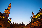 BRUSSELS - BELGIUM - 26 JUNE 2010 -- Grand Place by night, the Brussels Town Hall in the city centre. PHOTO: ERIK LUNTANG / EUP-Images