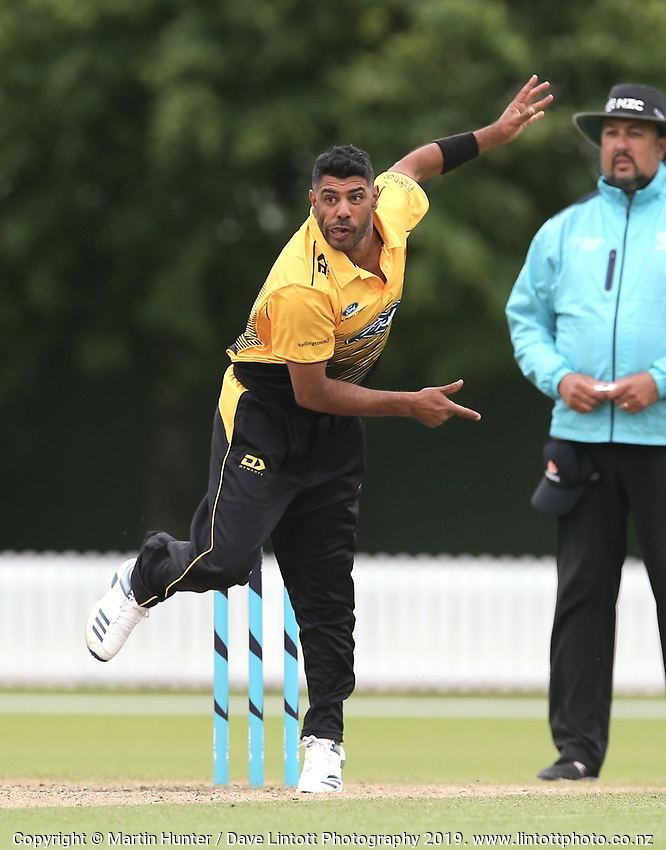 Wellington's Jeetan Patel bowls during the Wellington Firebirds v Otago Volts, Ford Trophy One Day match round five at Bert Sutcliffe Oval in Lincoln, New Zealand on Friday, 29 November 2019. Photo: Martin Hunter / lintottphoto.co.nz