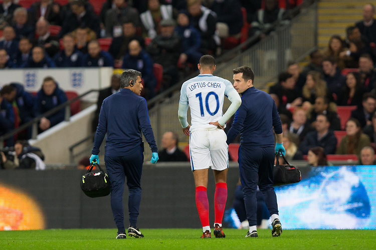 England's Ruben Loftus-Cheek leaves the field with an injury <br /> <br /> Photographer Craig Mercer/CameraSport<br /> <br /> The Bobby Moore Fund International - England v Brazil - Tuesday 14th November 2017 Wembley Stadium - London  <br /> <br /> World Copyright &copy; 2017 CameraSport. All rights reserved. 43 Linden Ave. Countesthorpe. Leicester. England. LE8 5PG - Tel: +44 (0) 116 277 4147 - admin@camerasport.com - www.camerasport.com