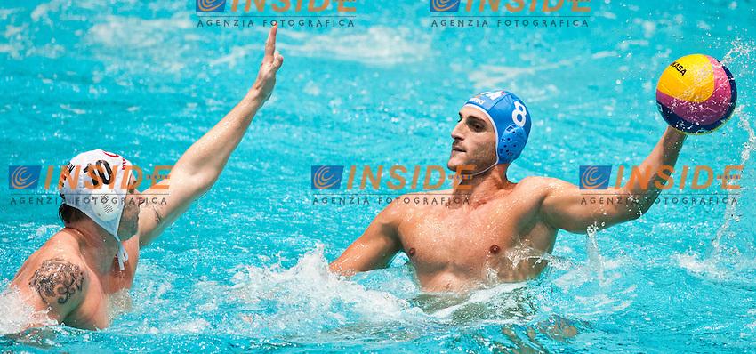 Eindhoven , Netherlands (NED) 16/1/2012.LEN European  Water Polo Championships 2012.Day 01 - Men.Hungary (White) - Italia (Blue)..HUN.10.SZECSI Zoltan..ITA.8.GALLO Valentino...Photo Insidefoto / Giorgio Scala / Deepbluemedia