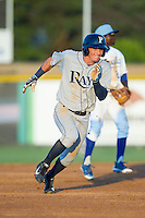 Thomas Milone (21) of the Princeton Rays hustles towards third base against the Burlington Royals at Burlington Athletic Park on July 11, 2014 in Burlington, North Carolina.  The Rays defeated the Royals 5-3.  (Brian Westerholt/Four Seam Images)