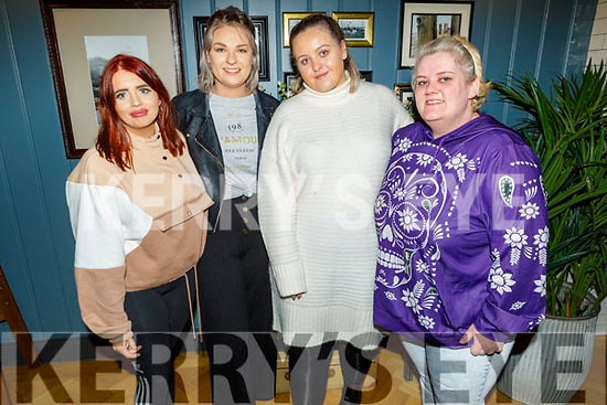 Caoimhe Murphy, Maura O'Leary, Michaela O'Donoghue and Bridget McCarthy enjoying the evening in the Ashe Hotel on Sunday.
