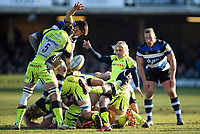 Faf de Klerk of Sale Sharks box-kicks the ball. Aviva Premiership match, between Bath Rugby and Sale Sharks on February 24, 2018 at the Recreation Ground in Bath, England. Photo by: Patrick Khachfe / Onside Images