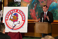 Toronto Blue Jays Director of Minor League Operations Charlie Wilson during the Buffalo Bisons press conference introducing the teams new logo and manager for their affiliation with the Toronto Blue Jays at Coco-Cola Field on November 20, 2012 in Buffalo, New York.  (Mike Janes/Four Seam Images)
