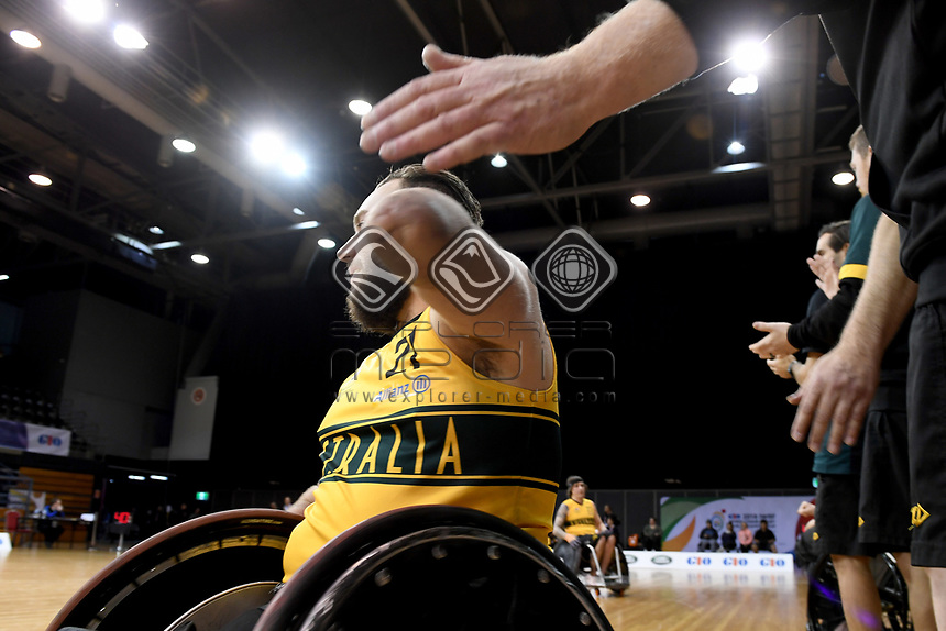 Josh Nicholson (AUS) vs Japan<br /> Australian Wheelchair Rugby Team<br /> 2018 IWRF WheelChair Rugby <br /> World Championship / Day 4<br /> Sydney  NSW Australia<br /> Wednesday 8th August 2018<br /> &copy; Sport the library / Jeff Crow / APC