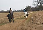 Horse riding, Suffolk farming landscape scenery, East Anglia, England