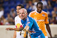New York Red Bulls goalkeeper Bill Gaudette (88) sets up the defense. The New York Red Bulls defeated the Houston Dynamo 2-0 during a Major League Soccer (MLS) match at Red Bull Arena in Harrison, NJ, on August 10, 2012.
