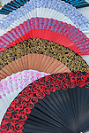 Traditional Spanish hand fans in Barcelona, Spain.<br />