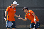 April 23, 2015; San Diego, CA, USA; Pepperdine Waves tennis players Tom Hill (left) and Kento Tamaki (right) during the WCC Tennis Championships at Barnes Tennis Center.