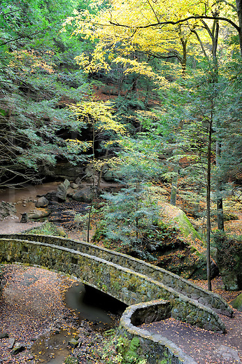 Bridge of stone in the deep woods over a stream bed, Fall at Hocking Hills State Park in Ohio, OH, USA.