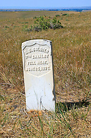 A stone marker preserve the location of a fallen 7th Cavalry soldier at the Little Bighorn Battlefield National Monument in Wyoming. The Battle of Little Bighorn took place on June 25, 1876 when Armstrong's 7th Cavalry was met by a combined force of Lakota-Northern Cheyenne and Arapaho soldiers.