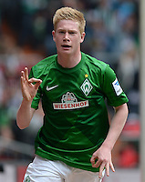 FUSSBALL   1. BUNDESLIGA   SAISON 2012/2013    33. SPIELTAG SV Werder Bremen - Eintracht Frankfurt                   11.05.2013 Kevin De Bruyne (SV Werder Bremen) bejubelt seinen Treffer zum 1:0