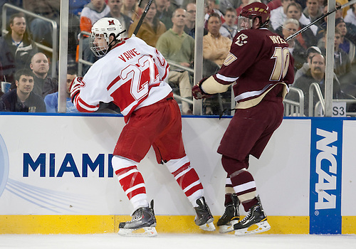 08 April 2010: Miami Forward Justin Vaive (#22) and Boston College Forward Jimmy Hayes (#10) in game action between the Miami (Ohio) Redhawks and the Boston College Eagles at Ford Field in Detroit, Michigan. Boston College defeated Miami 7-1. Mandatory Credit: John Mersits / Southcreek Global