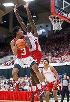 NWA Democrat-Gazette/BEN GOFF @NWABENGOFF<br /> Desi Sills (3), Arkansas guard, shoots as Adrio Bailey, Arkansas forward, defends in the second half Saturday, Oct. 5, 2019, during the annual Arkansas Red-White Game at Barnhill Arena in Fayetteville.