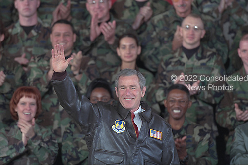 United States President George W. Bush greets troops at Elgin Air Force Base in Fort Walton Beach, Florida, Monday, February 4, 2002..Mandatory Credit: Paul Morse - White House via CNP.