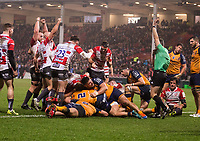 Gloucester celebrate Ben Morgan's try<br /> <br /> Photographer Bob Bradford/CameraSport<br /> <br /> European Rugby Heineken Champions Cup Group E - Gloucester v Montpellier Herault Rugby - Saturday 11th January 2020 - Kingsholm Stadium - Gloucester<br /> <br /> World Copyright © 2019 CameraSport. All rights reserved. 43 Linden Ave. Countesthorpe. Leicester. England. LE8 5PG - Tel: +44 (0) 116 277 4147 - admin@camerasport.com - www.camerasport.com