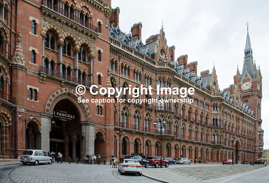 St Pancras Renaissance Hotel, St Pancras, London, UK. At the same location is St Pancras Railway Station from where the Eurostar high speed trains operate to Continental Europe via the Channel Tunnel. The St Pancras Complex also incorporates many big name stores and restaurants. 201609044268<br /> <br /> Copyright Image from Victor Patterson, 54 Dorchester Park, Belfast, UK, BT9 6RJ<br /> <br /> t1: +44 28 9066 1296 (from Rep of Ireland 048 9066 1296)<br /> t2: +44 28 9002 2446 (from Rep of Ireland 048 9002 2446)<br /> m: +44 7802 353836<br /> <br /> e1: victorpatterson@me.com<br /> e2: victorpatterson@gmail.com<br /> <br /> The use of my copyright images is subject to my Terms &amp; Conditions.<br /> <br /> It is IMPORTANT that you familiarise yourself with them. They are available on my website at www.victorpatterson.com.<br /> <br /> None of my copyright images may be used on a website unless they are visibly watermarked, i.e. &copy; Victor Patterson within the body of the visible image. Metadata denoting my copyright must NOT be deleted. Maximum online size is 300 kbs. Web use is extra at currently recommended NUJ rates.