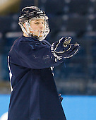 Andrew Miller (Yale - 17) - The Yale University Bulldogs took part in a morning skate on Friday, March 25, 2011, during the East Regional at Webster Bank Arena at Harbor Yard in Bridgeport, Connecticut.