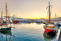 The sunset at the port of Naousa in Paros island, Greece
