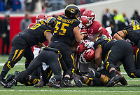 Hawgs Illustrated/BEN GOFF <br /> Missouri recovers their own fumble while attempting to convert on 4th and 1 in the first quarter vs Arkansas Saturday, Nov. 29, 2019, at War Memorial Stadium in Little Rock.