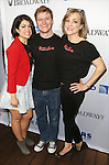 Sarah Stiles, Steven Boyer and Geneva Carr backstage at United presents 'Stars in the Alley' in  Shubert Alley on May 27, 2015 in New York City.