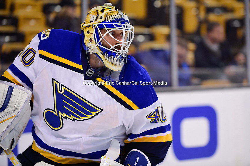 Tuesday, November 22, 2016: St. Louis Blues goalie Carter Hutton (40) warms up before the National Hockey League game between the St. Louis Blues and the Boston Bruins held at TD Garden, in Boston, Mass. The Blues defeat the Bruins 4-2. Eric Canha/CSM