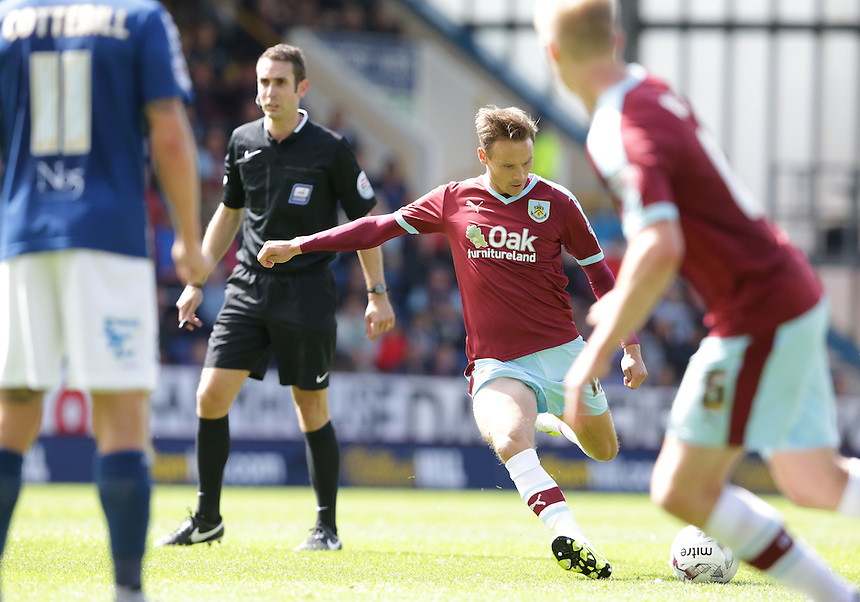 Burnley's Matthew Taylor scores his sides second goal direct from a free kick<br /> <br /> Photographer Stephen White/CameraSport<br /> <br /> Football - The Football League Sky Bet Championship - Burnley v Birmingham City - Saturday 15th August 2015 - Turf Moor - Burnley<br /> <br /> &copy; CameraSport - 43 Linden Ave. Countesthorpe. Leicester. England. LE8 5PG - Tel: +44 (0) 116 277 4147 - admin@camerasport.com - www.camerasport.com
