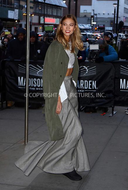 WWW.ACEPIXS.COM<br /> <br /> February 11 2016, New York City<br /> <br /> Model Karlie Kloss arrives at Madison Square Garden for the Zeezy Season 3 presntation on February 11 2016 in New York City<br /> <br /> By Line: Zelig Shaul/ACE Pictures<br /> <br /> <br /> ACE Pictures, Inc.<br /> tel: 646 769 0430<br /> Email: info@acepixs.com<br /> www.acepixs.com