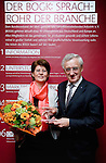 "BRUSSELS - BELGIUM - 24 March 2015 -- BOGK - German Association of the Fruit, Vegetable and Potato Processing Industry - Award ceremony ""Ambassador of Good Taste"". -- (from left) Award receiver MEP Renate SOMMER, Group of the European People's Party (Christian Democrats - Germany) and MEP Albert DESS, Group of the European People's Party (Christian Democrats - Germany).  -- Photo: Juha ROININEN / EUP-IMAGES"