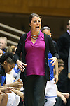 17 November 2013: Duke head coach Joanne P. McCallie. The Duke University Blue Devils played the University of Alabama Crimson Tide at Cameron Indoor Stadium in Durham, North Carolina in a 2013-14 NCAA Division I Women's Basketball game. Duke won the game 92-57.