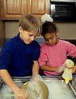 BH22-187x  Bubbles - children washing dishes