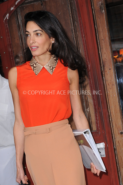 WWW.ACEPIXS.COM<br /> April 7, 2015 New York City<br /> <br /> Amal Clooney leaving Morandi in the West Village of New York City on April 7, 2015.<br /> <br /> By Line: Kristin Callahan/ACE Pictures<br /> ACE Pictures, Inc.<br /> tel: 646 769 0430<br /> Email: info@acepixs.com<br /> www.acepixs.com