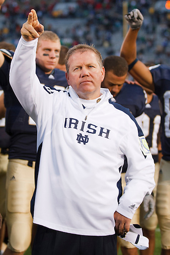 Notre Dame head coach Brian Kelly after NCAA football game between Stanford and Notre Dame.  The Stanford Cardinal defeated the Notre Dame Fighting Irish 37-14 in game at Notre Dame Stadium in South Bend, Indiana.