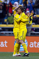 8 MAY 2010:  Robbie Rogers of the Columbus Crew (18) and Eddie Gaven celebrate Eddie Gaven goal during MLS soccer game between New England Revolution vs Columbus Crew at Crew Stadium in Columbus, Ohio on May 8, 2010. The Columbus defeated New England 3-2.