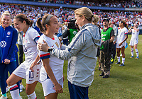 CHICAGO, IL - OCTOBER 6: Jill Ellis of the United States talks to Mallory Pugh #2 during a game between Korea Republic and USWNT at Soldier Field on October 6, 2019 in Chicago, Illinois.