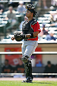 May 13, 2009:  Catcher Miguel Perez of the Indianapolis Indians, International League Class-AAA affiliate of the Pittsburgh Pirates, in the field during a game at Frontier Field in Rochester, FL.  Photo by:  Mike Janes/Four Seam Images